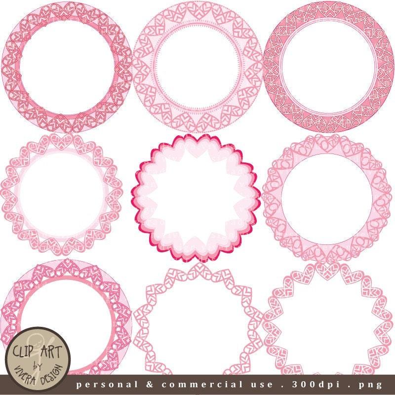 digital clip art circle frames pretty pink by viveradesign