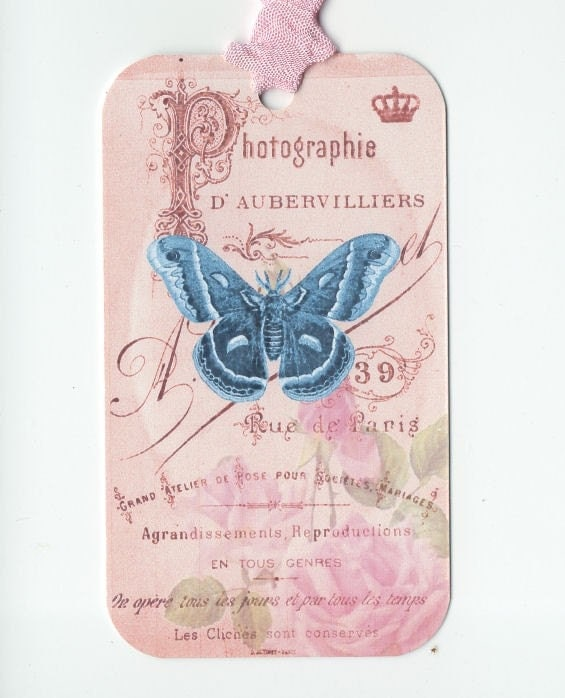 Photographie du Papillon or Photography of the Butterfly French  Themed Pink Roses Gift Tags tied up with Crinkled Vintage Seam Binding  plus an Extra Yard FREE