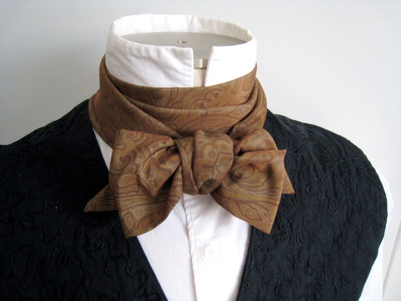 65in Cravat, in brown paisley print taffeta, for your Victorian or steampunk costume - FittingAndProper