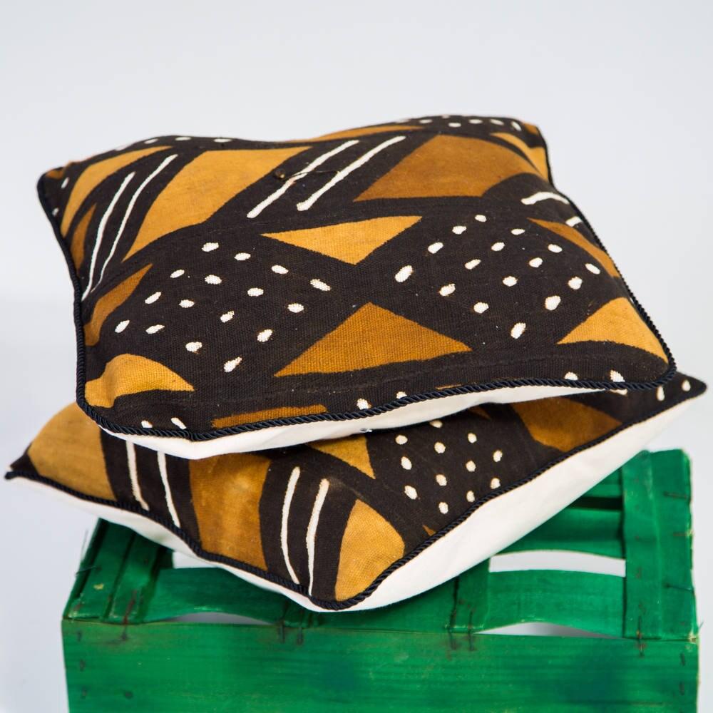Mud Cloth Pillow Set  African Cushion  Decorative Pillow  African Home Decor cushion Cover  Black Brown Tan Mudcloth Cushion 2 Set