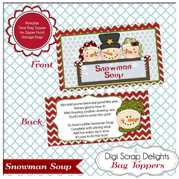 Items similar to Snowman Soup Printable Bag Topper - Gifts for ...