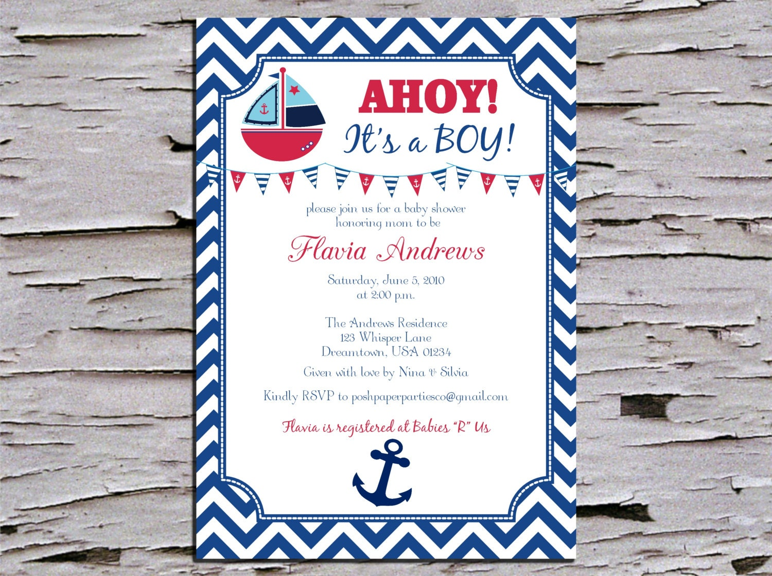 ahoy its a boy nautical baby shower invitation red white and blue