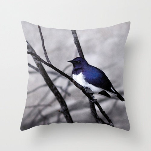 Pillow Cover, Blue Bird Photography, Fine art Photography, Photo Pillow, Home Decor, Living Room, Bedroom, 16x16 or 18x18 - LARCADESANSNOM