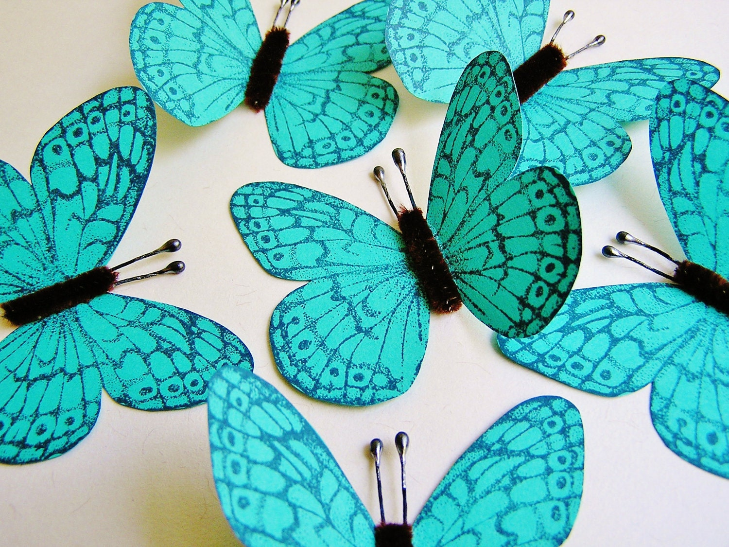 Turquoise /Espresso /Midnight blue Vintage style Bon Bon Butterflies - wedding, wrap, craft, supply, handmade, whimsical, party, decor