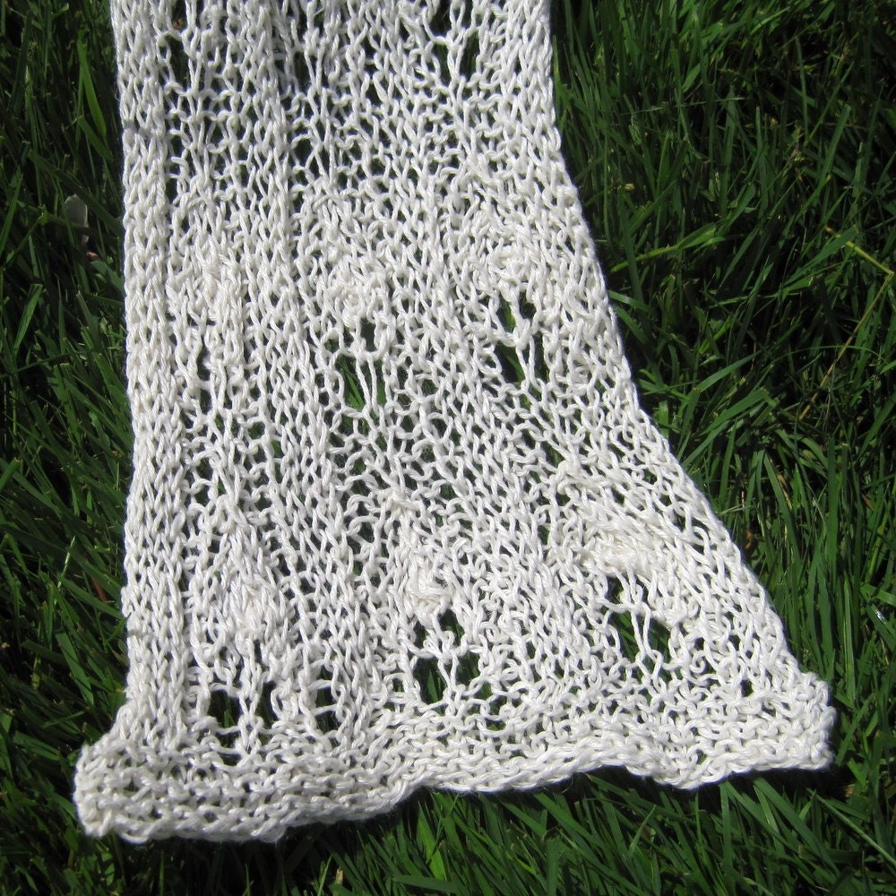 White lace linen scarf