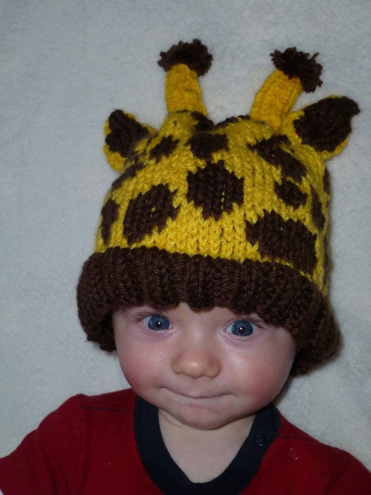 Baby Giraffe Hat Knitting Pattern : Items similar to Baby Giraffe Hat Pattern (knit) on Etsy