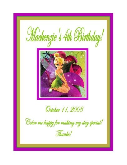 PERSONALIZED  Tinkerbell  Coloring Book Party Favor
