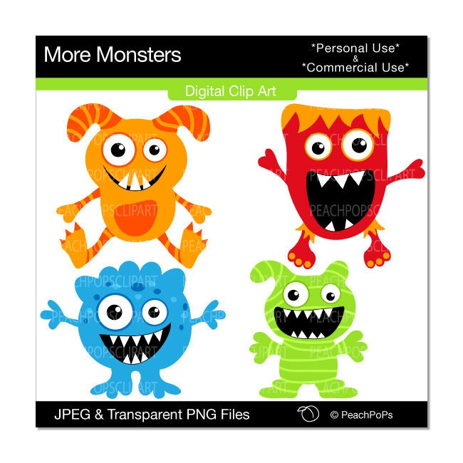 Grr Argh More Monsters - ORIGINAL Digital Clip Art Illustration set  - cute, silly, red, blue, green, orange - Personal & Commercial Use