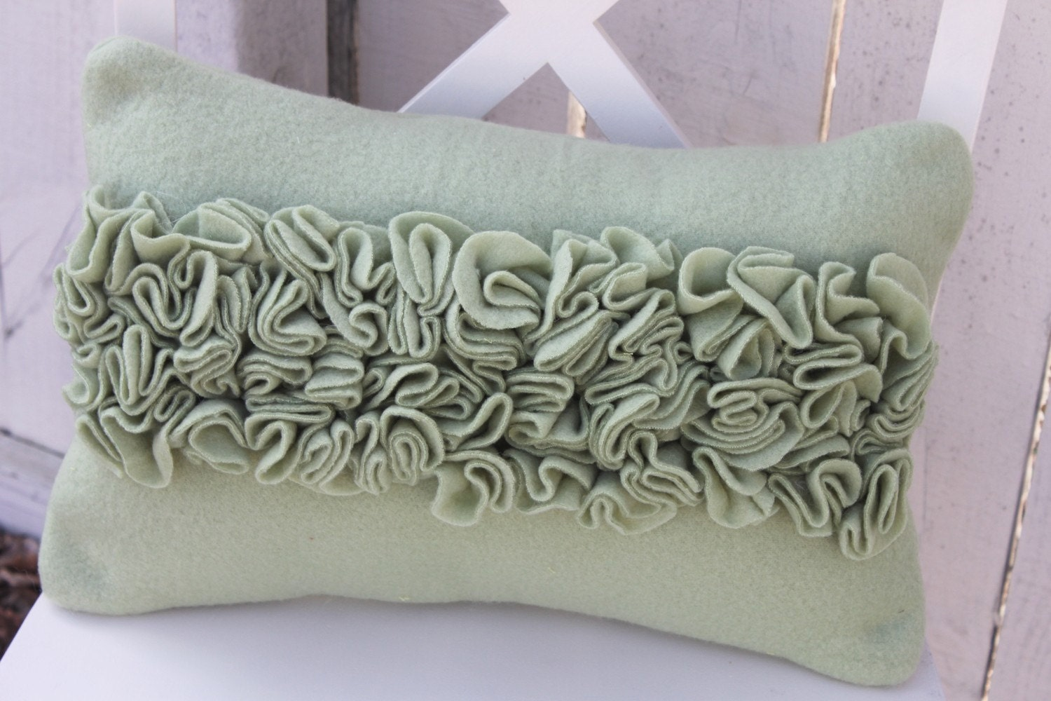 Sage Green Ruffle Pillow