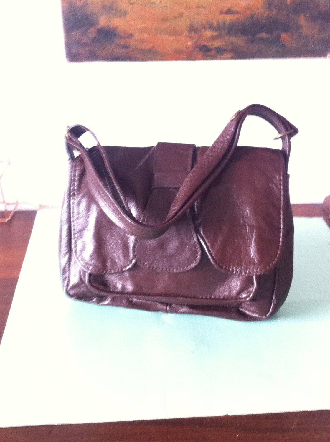 Vintage 70s brown brand new leather handbag evening purse grab purse shoulder bag