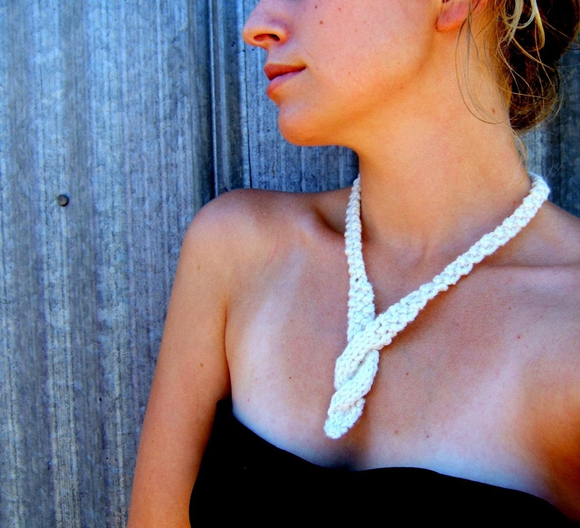 New Twist Necklace -- Handknit in Soft Ivory Wool
