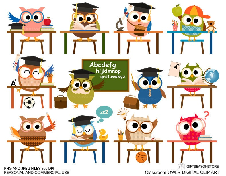 Classroom owl clip art for Personal and by Giftseasonstore on Etsy: www.etsy.com/listing/161338978/classroom-owl-clip-art-for-personal-and