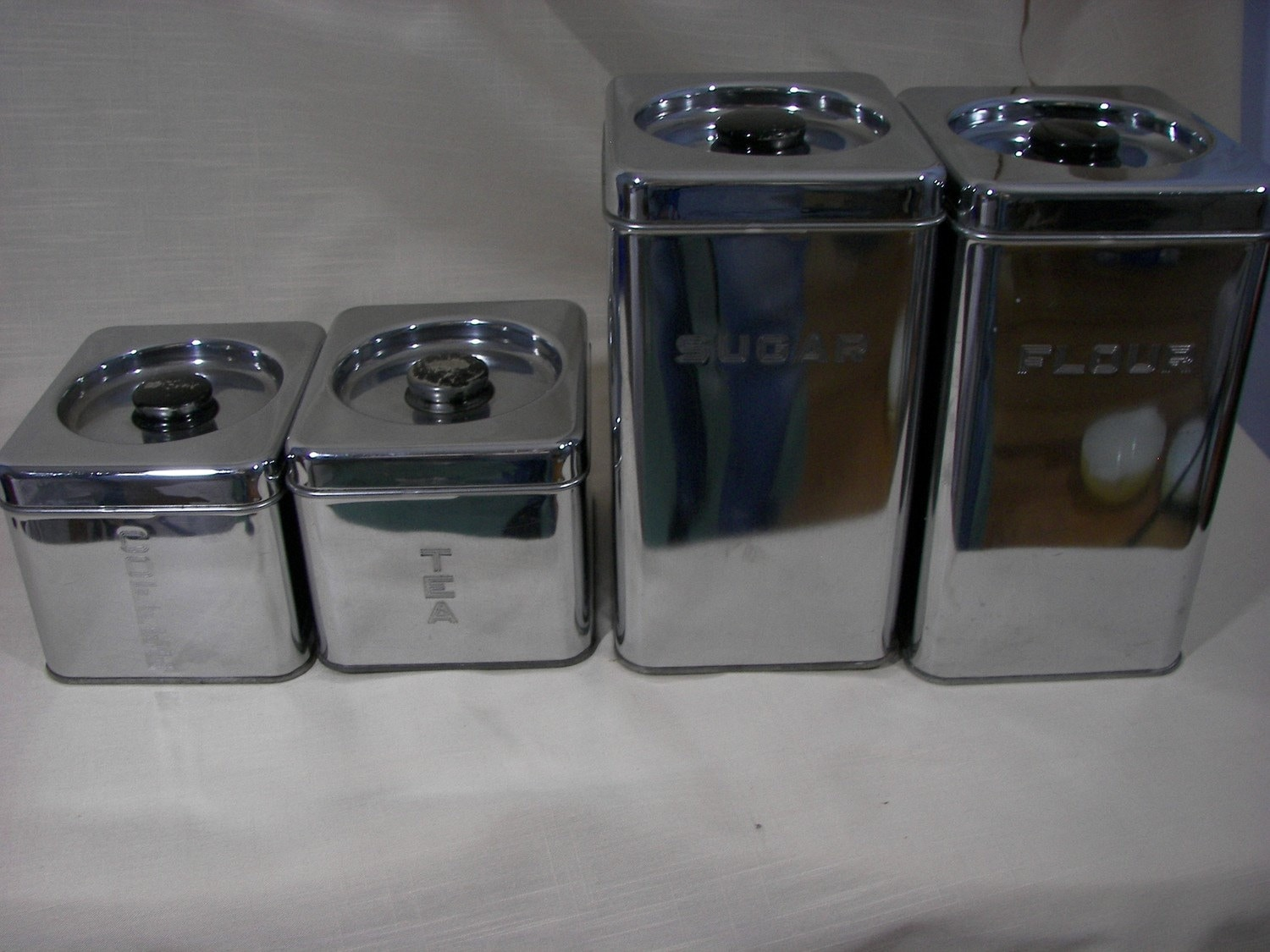 Vintage Stainless Canisters By Lincoln Beauty Ware