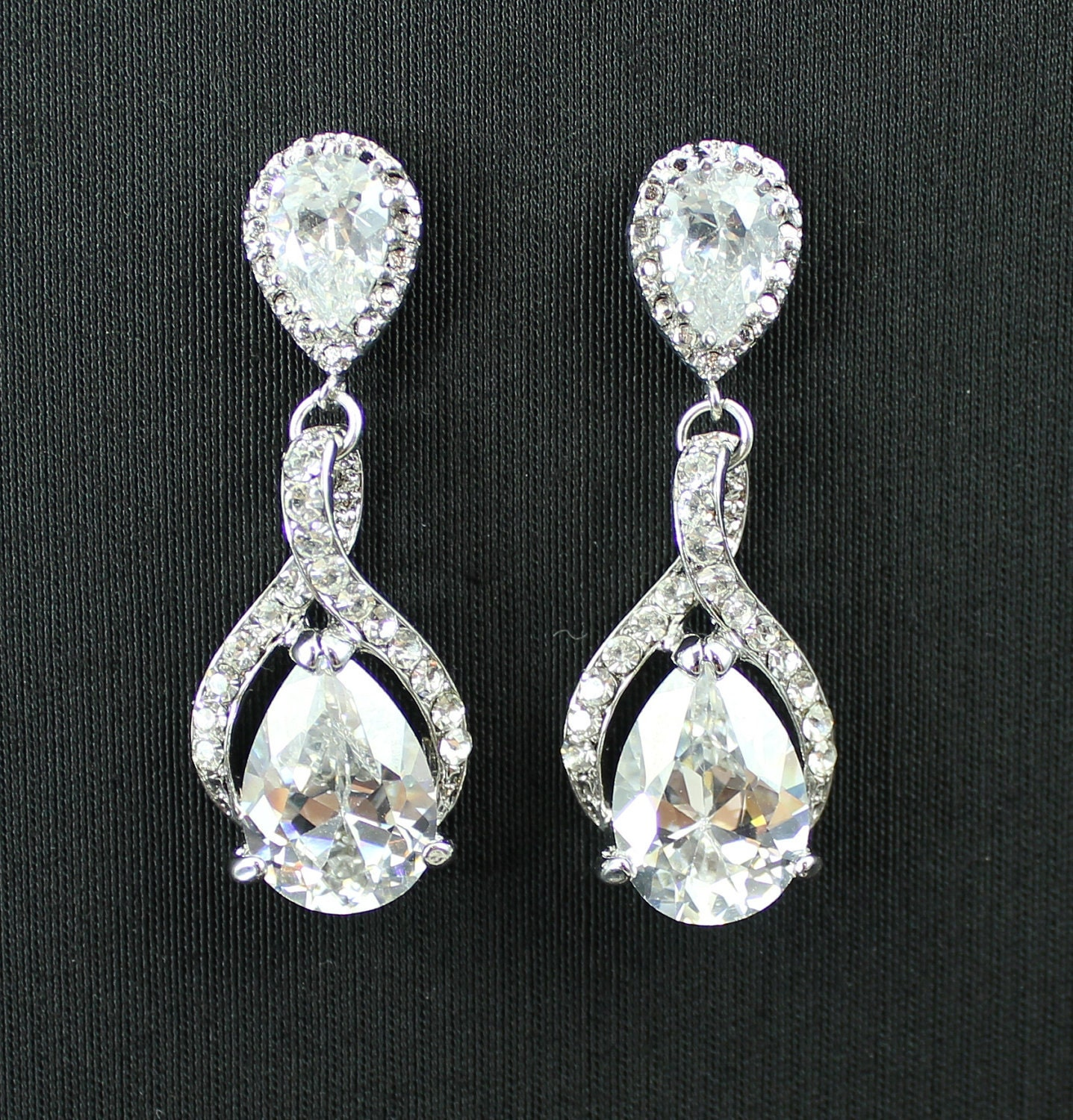 Bridal Crystal Earrings BRIDE Wedding Jewelry Bridesmaid GISELLE Be Frosted Collection