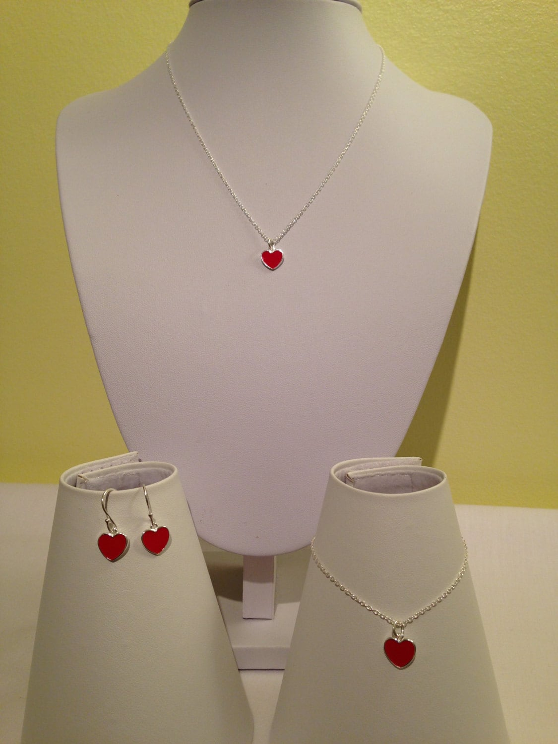 Sterling Silver Red Enamel Heart Necklace Bracelet and Earring Set