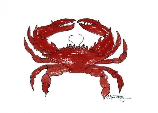 Red Crab, Limited Edition Watercolor by Laura L. <span class=