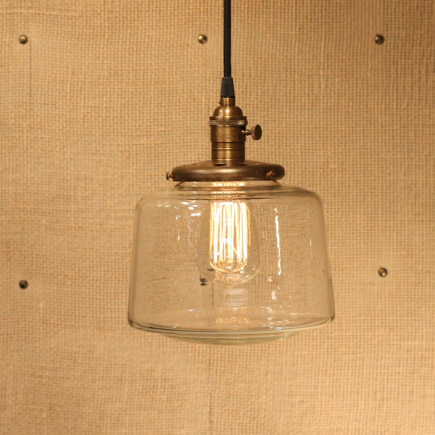 Pendant Lighting With Tapered Clear Glass Shade and Exposed Socket Design - lucentlampworks