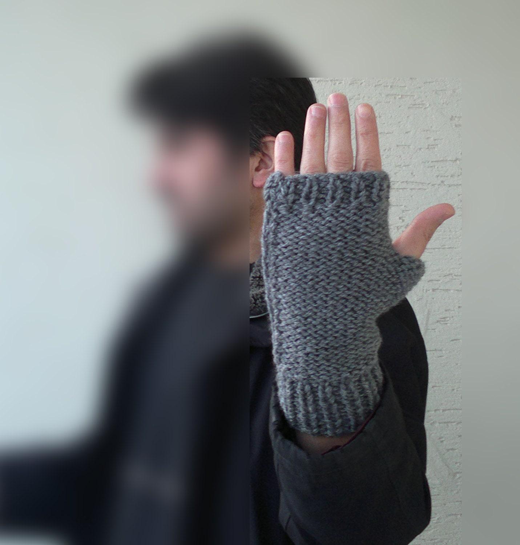 Knitted mens mitten, mens fingerless gloves in gray, Winter 2013,  mens fashion, valentines, gift for him - KnitterPrincess