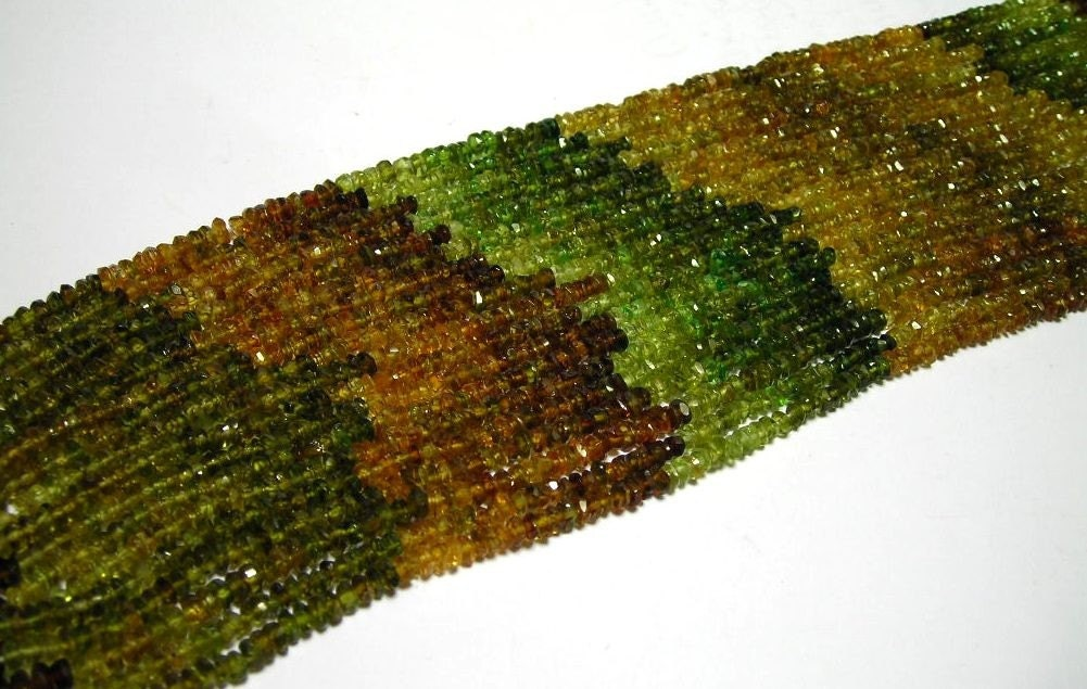 Petro tourmaline full strand faceted rondells autumn colors