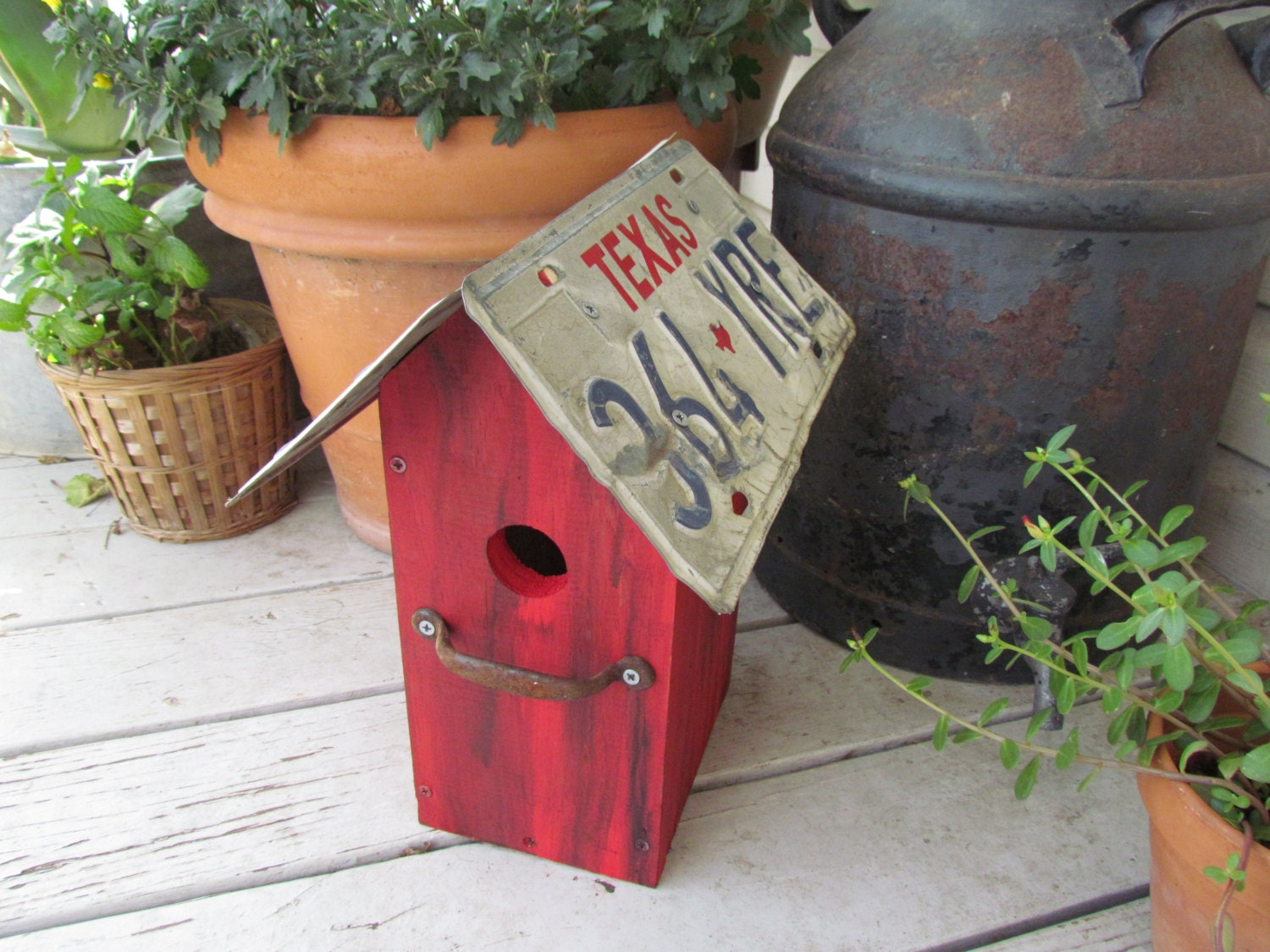 Bird House With Texas License Plate Roof By Loftyupcycles