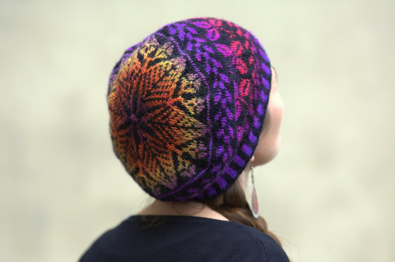 Handknit woolen hat / tam with floral motifs and a beautiful Fair Isle crown in black, purple, orange and yellow - Yarnoteka