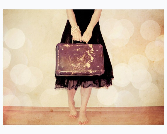 Bon Voyage Mademoiselle - whimsical fine art photography - girl with a vintage suitcase - 5x7 print - MyMonography