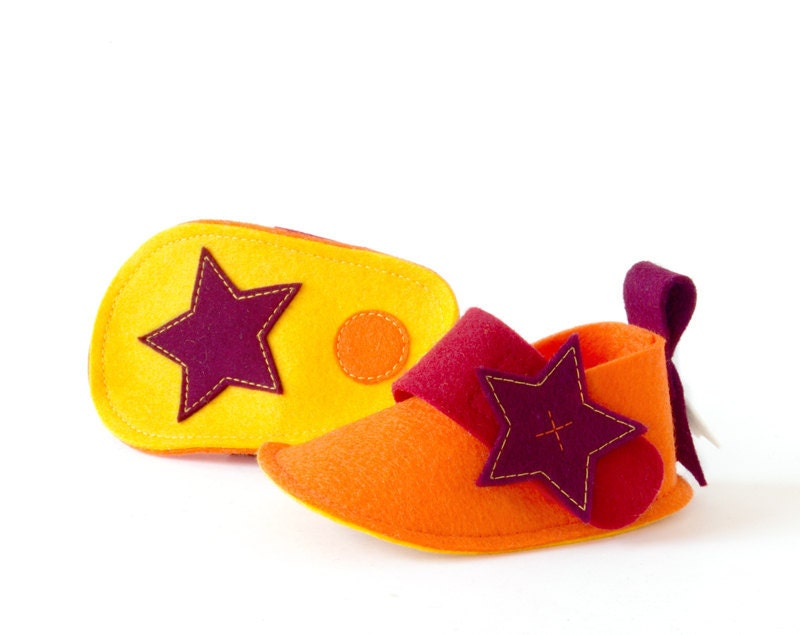 Orange baby shoes with stars - Pixie newborn girls & boys crib shoes, unisex baby gift soft booties