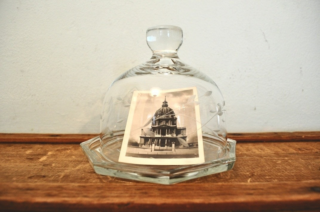 Vintage Etched Glass Cloche and Plate Glass Dome