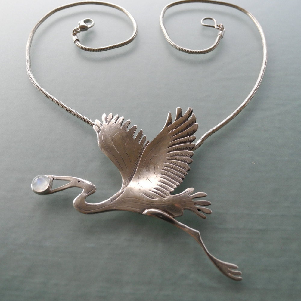 great blue heron pendant sterling silver by bobswhiskers