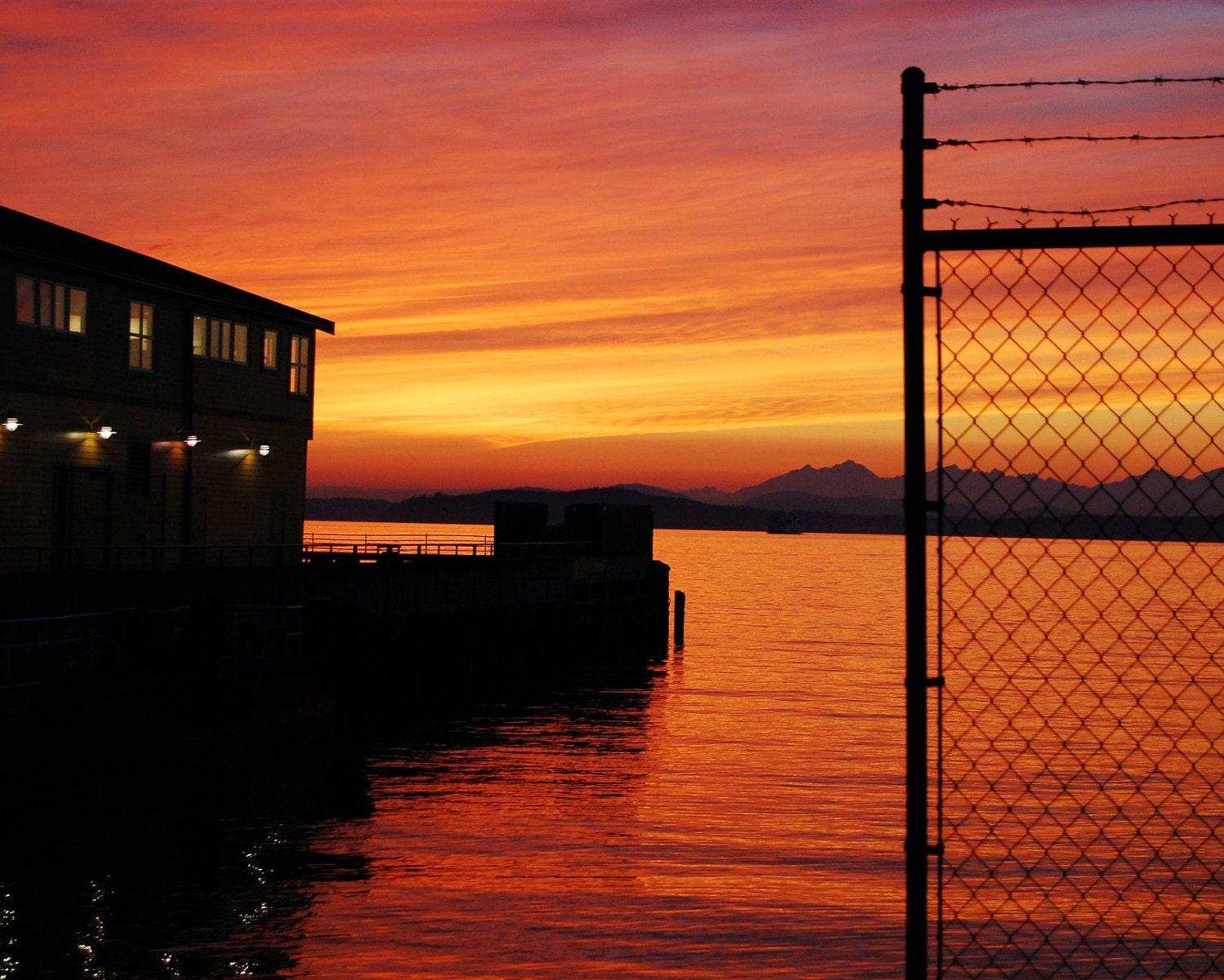 8 x 10 photo of red and gold October sunset over Puget Sound, Seattle, Washington, USA - skworld