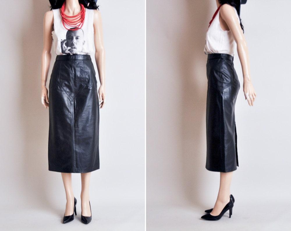 black leather high waist midi pencil skirt by