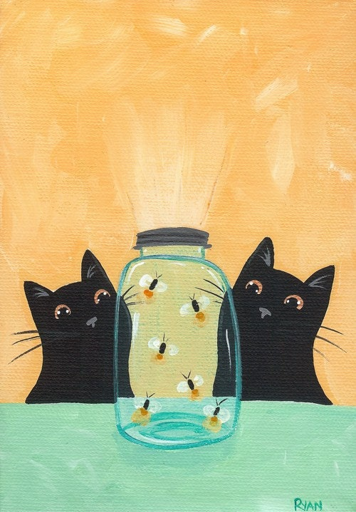 """Fireflies in the Mason Jar"" 5"" x 7"" Open print of my original painting."