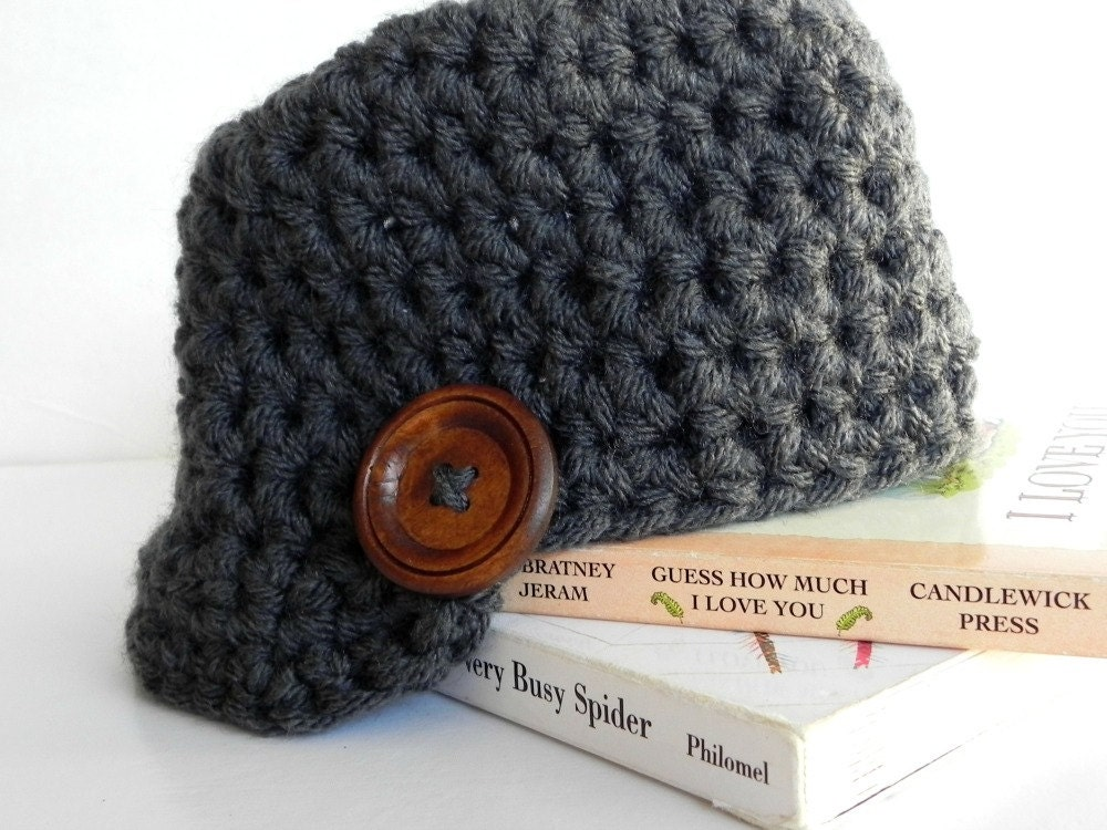 Baby Brim Hat with Wooden Button - Newborn - 36 months - Autumn Newsboy Hat