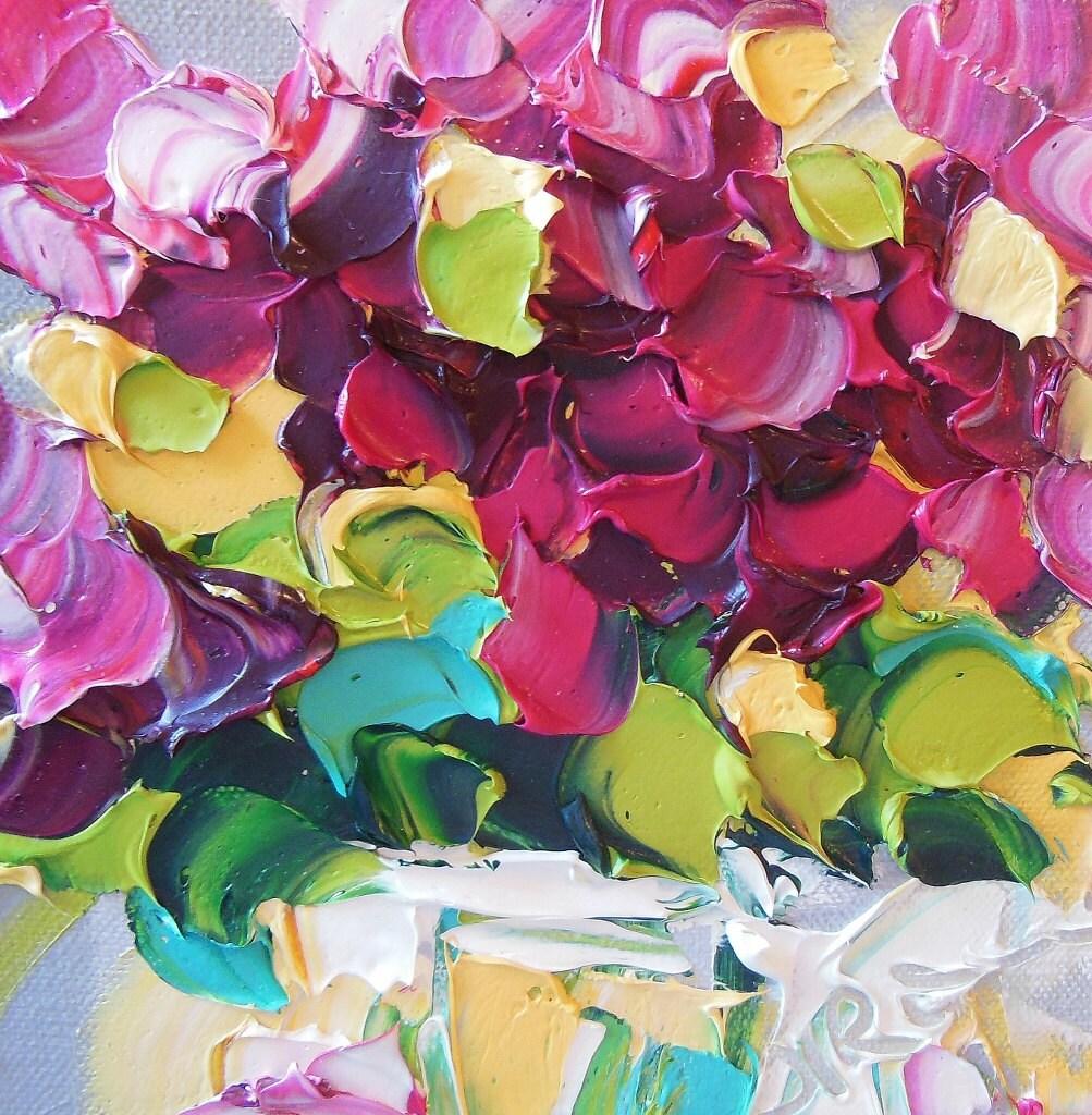 Original Oil Painting Magenta Lilacs Impasto  Art - IronsideImpastos