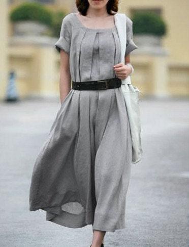 Grey  dress women dress Linen dress Long dress with a belt - fashiondress6