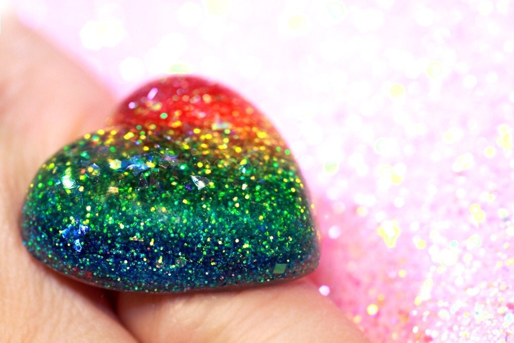 Big Rainbow Bling ...a novelty heart-shaped cocktail ring full of glitter for a girly girl... handmade by isewcute
