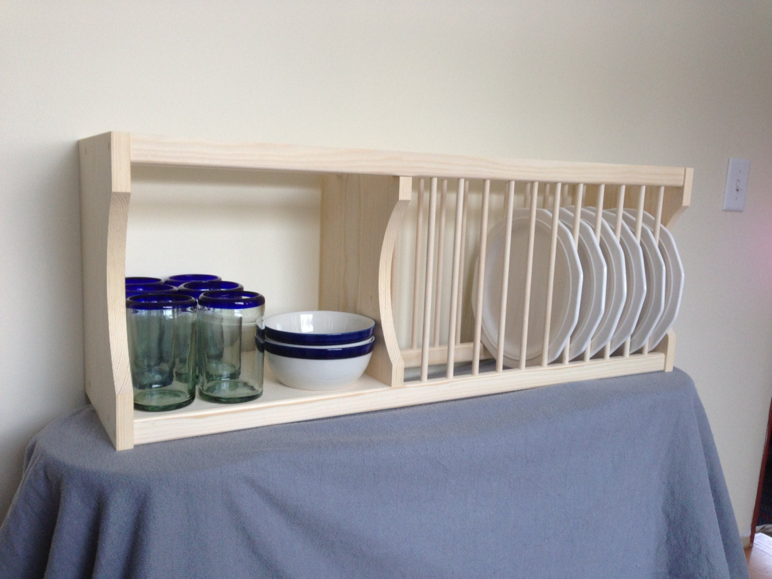 Under Cabinet Plate Rack With Shelf By NicoletWoodProducts On Etsy