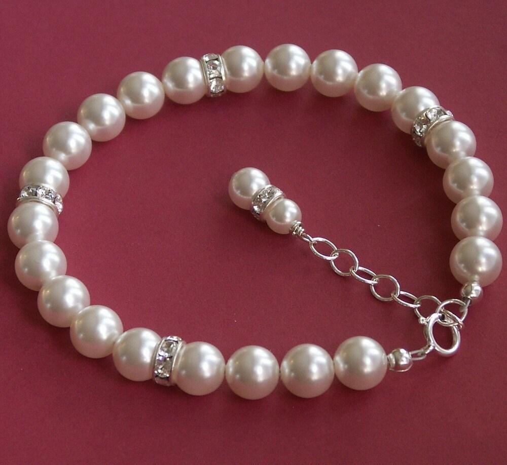 Rhinestone and Pearl Bridal Bracelet - Swarovski Crystal on Sterling Silver