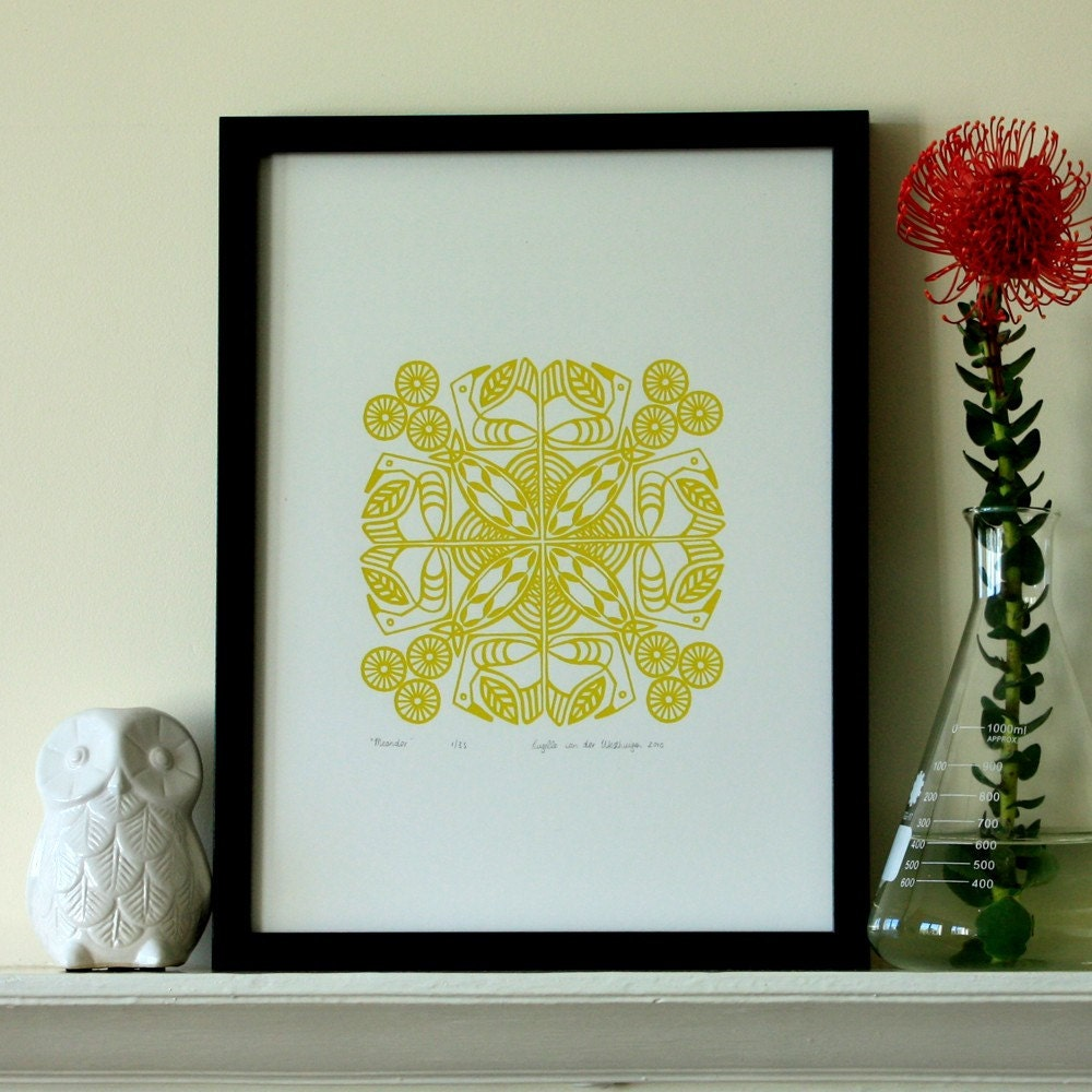 Meander original silkscreen print - mustard green Edition of 35