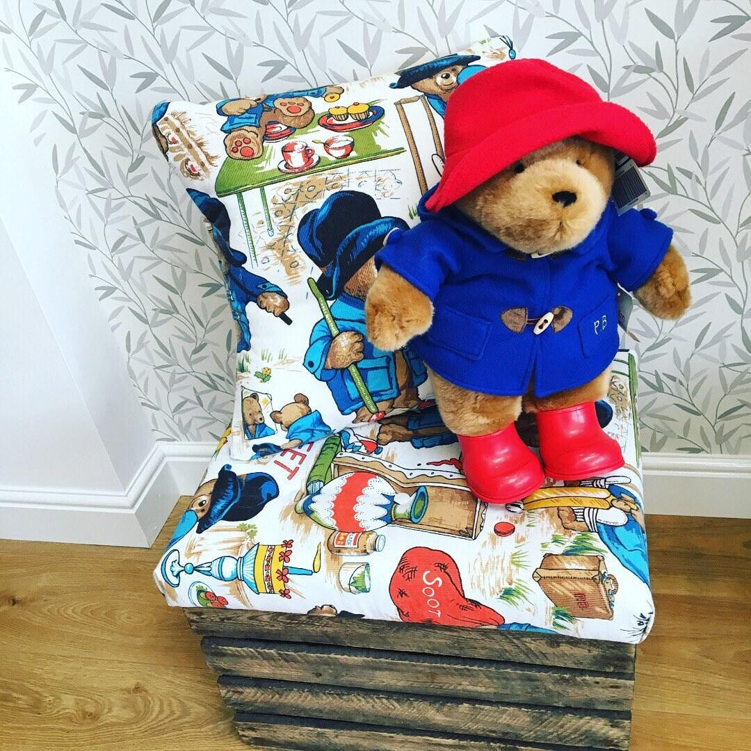 Paddington Bear upholstered storage xox vinatge apple crate footstool Love the Bear