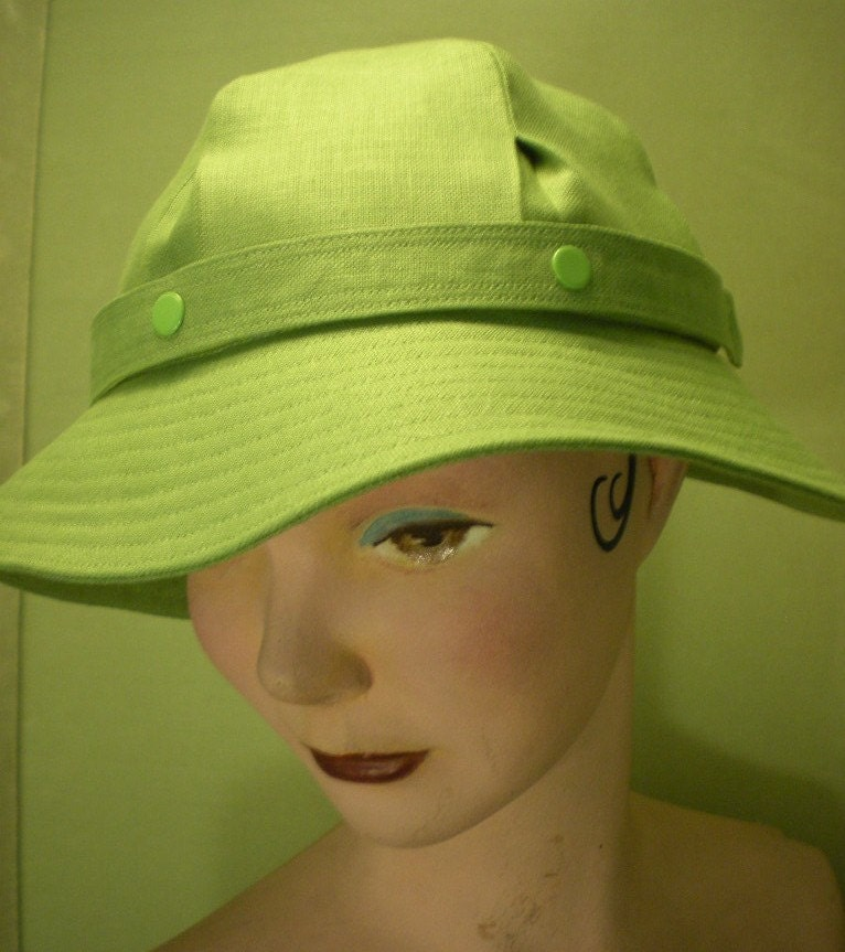Ella Linen Sun Hat in Spring Green