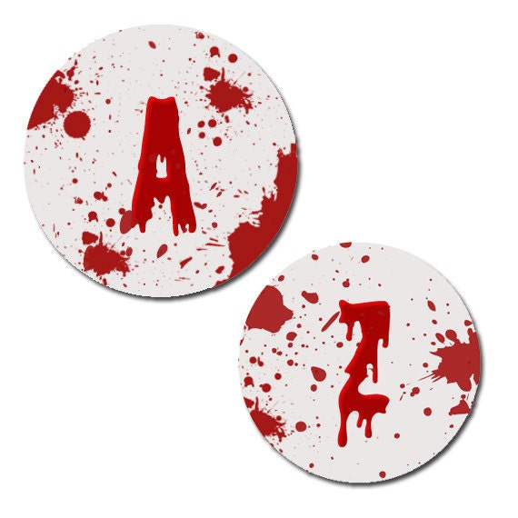 Blood Splatter Digital Collage Sheet  1 inch Circles 8.5x11 no.74 - SimpleCleanDesigns