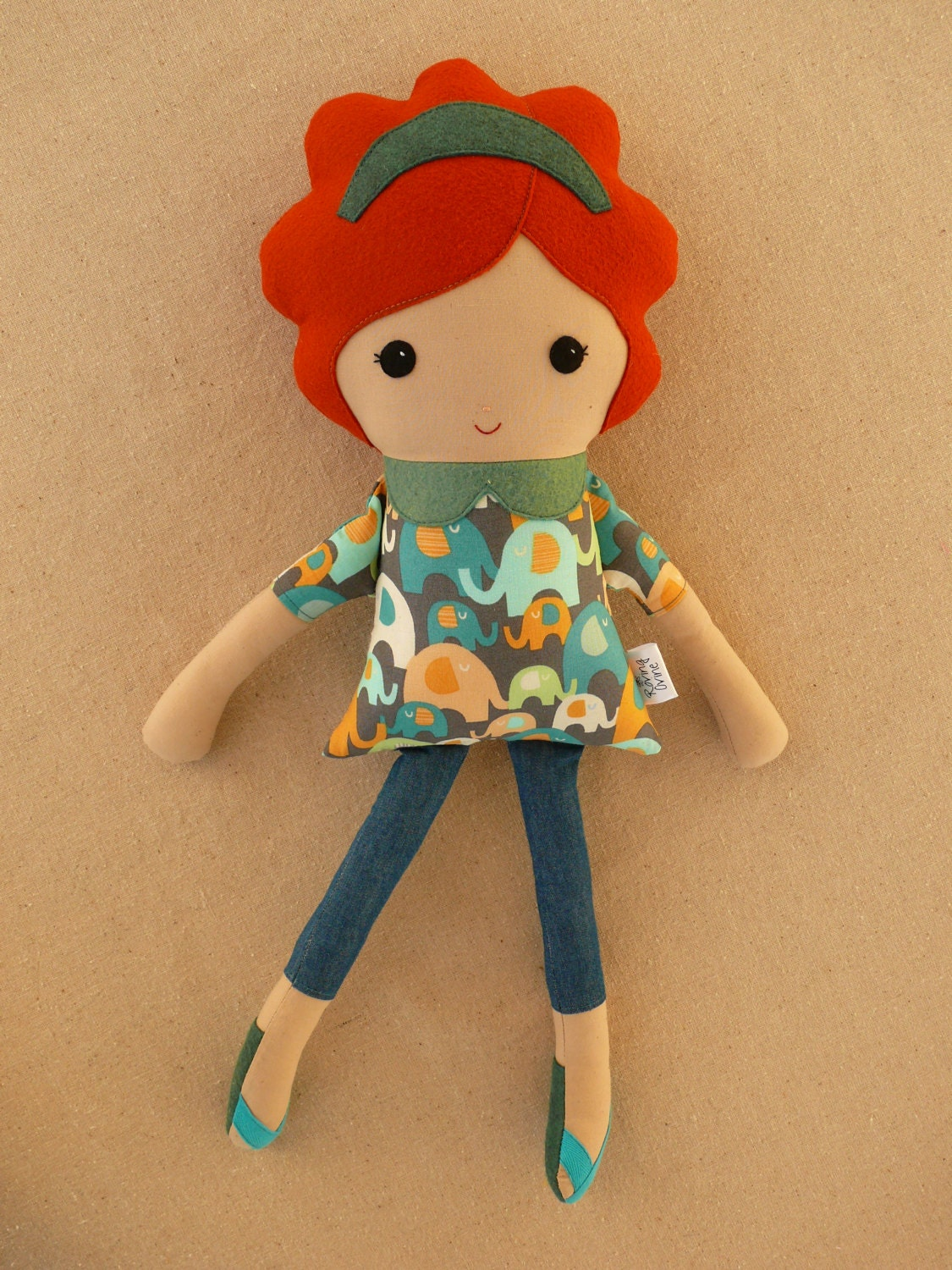 Fabric Doll Rag Doll Red Haired Girl In Elephant By
