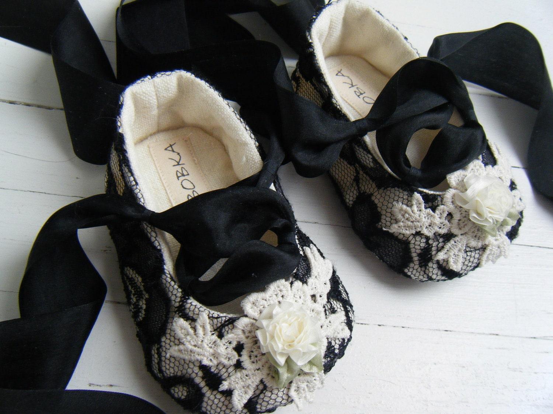 Шарлотта Черное кружево органических Конопля балета обуви для вашего ребенка девушка
