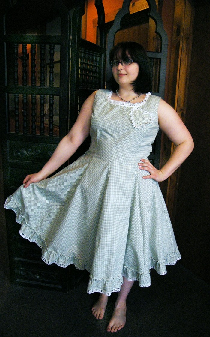 Gingham Green Spring Dress Japanese Lolita/Vintage Style-LARGE Waist 33-36
