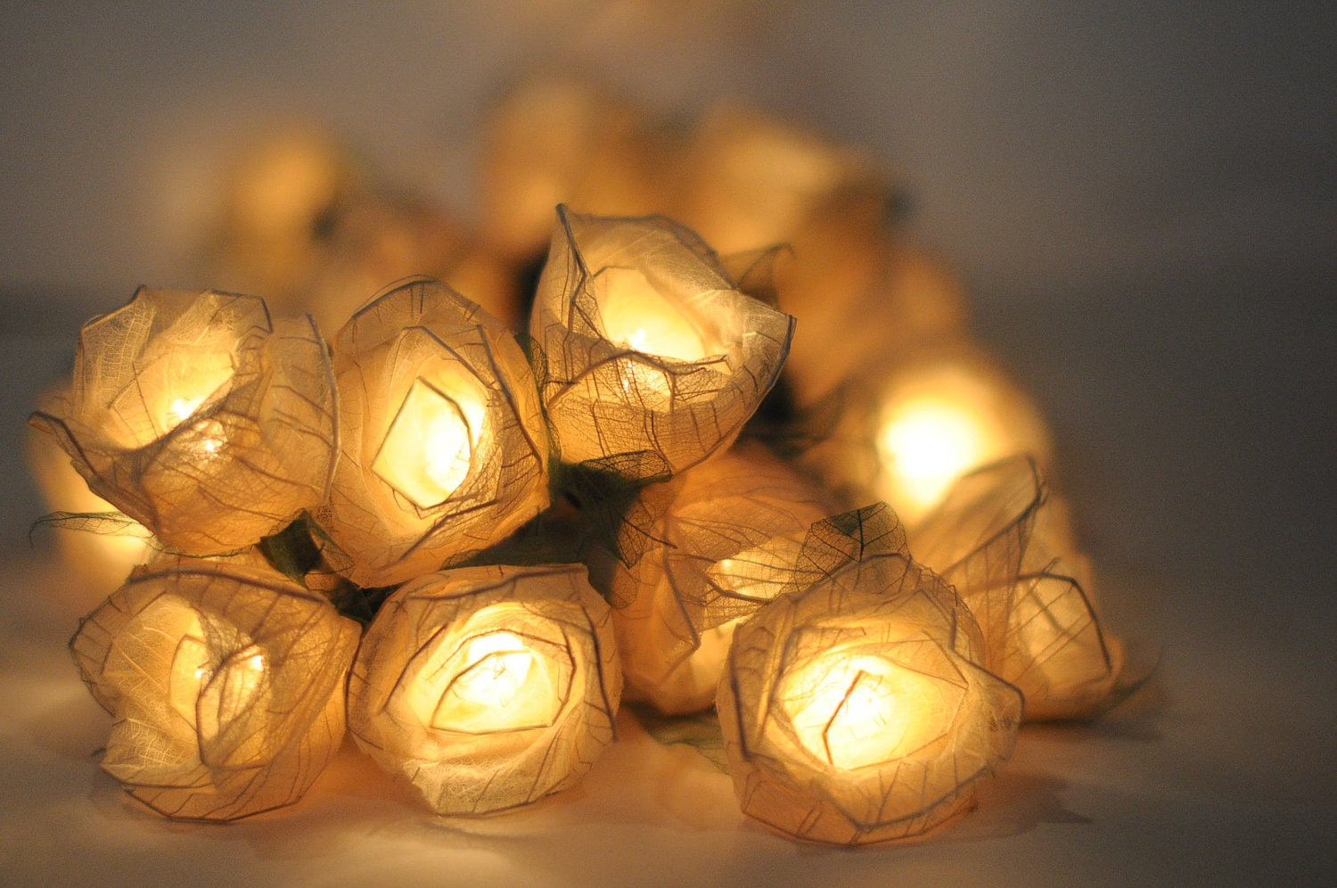 20 white  Romantic valentine Rose flower leaf string light patio decoration wedding bedroom decor - cottonlight