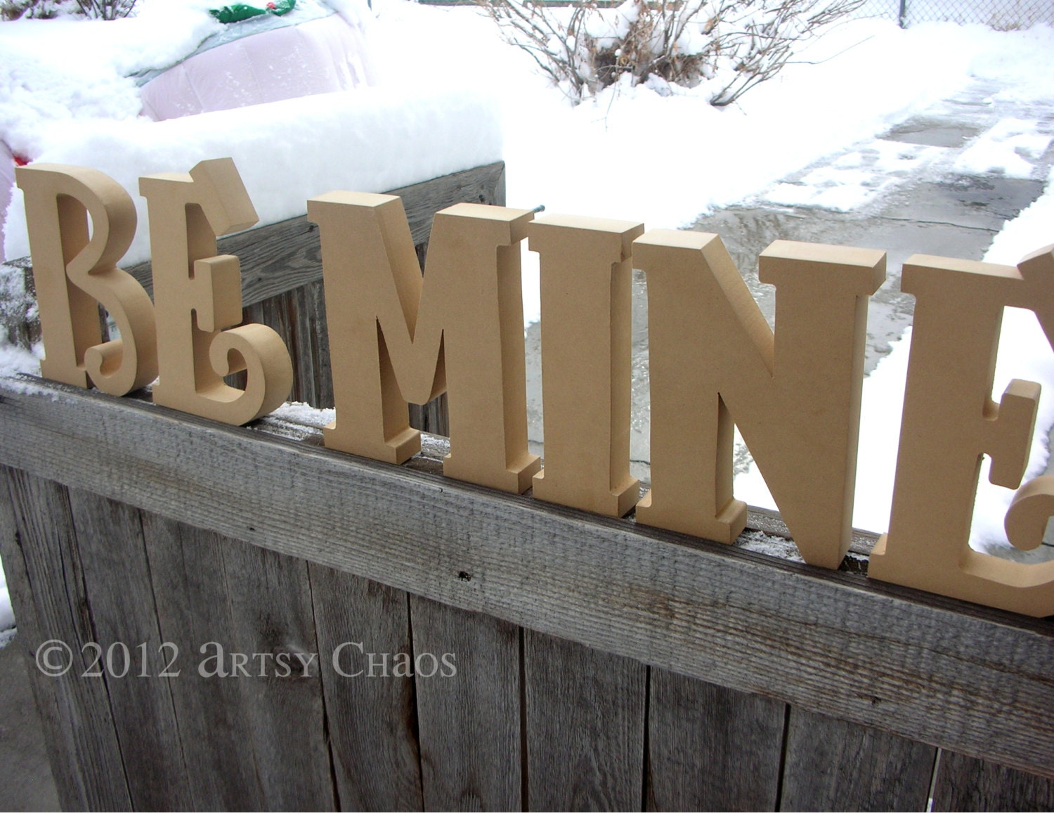 Unfinished Wood BE MINE Letters Decor Valentine's Day Love
