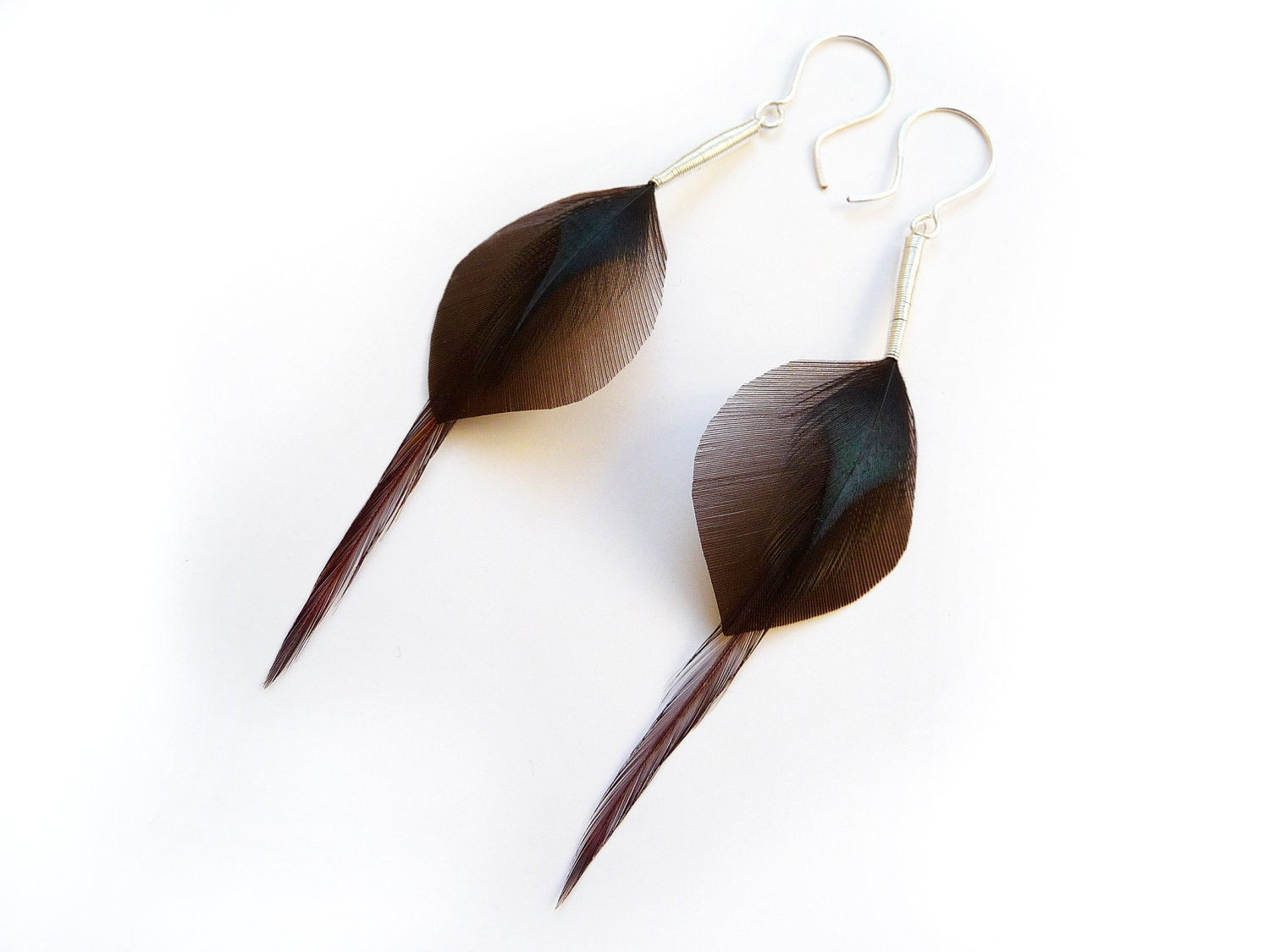 Chocolate Brown Petal Feather Earrings with Petrol Black Detail - Stilltreejewellery
