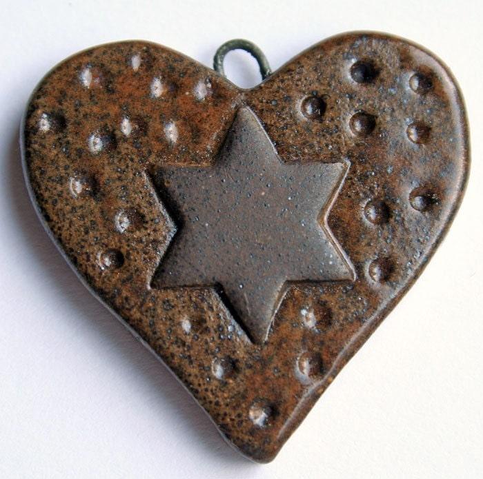 Handmade Ceramic Heart Charm