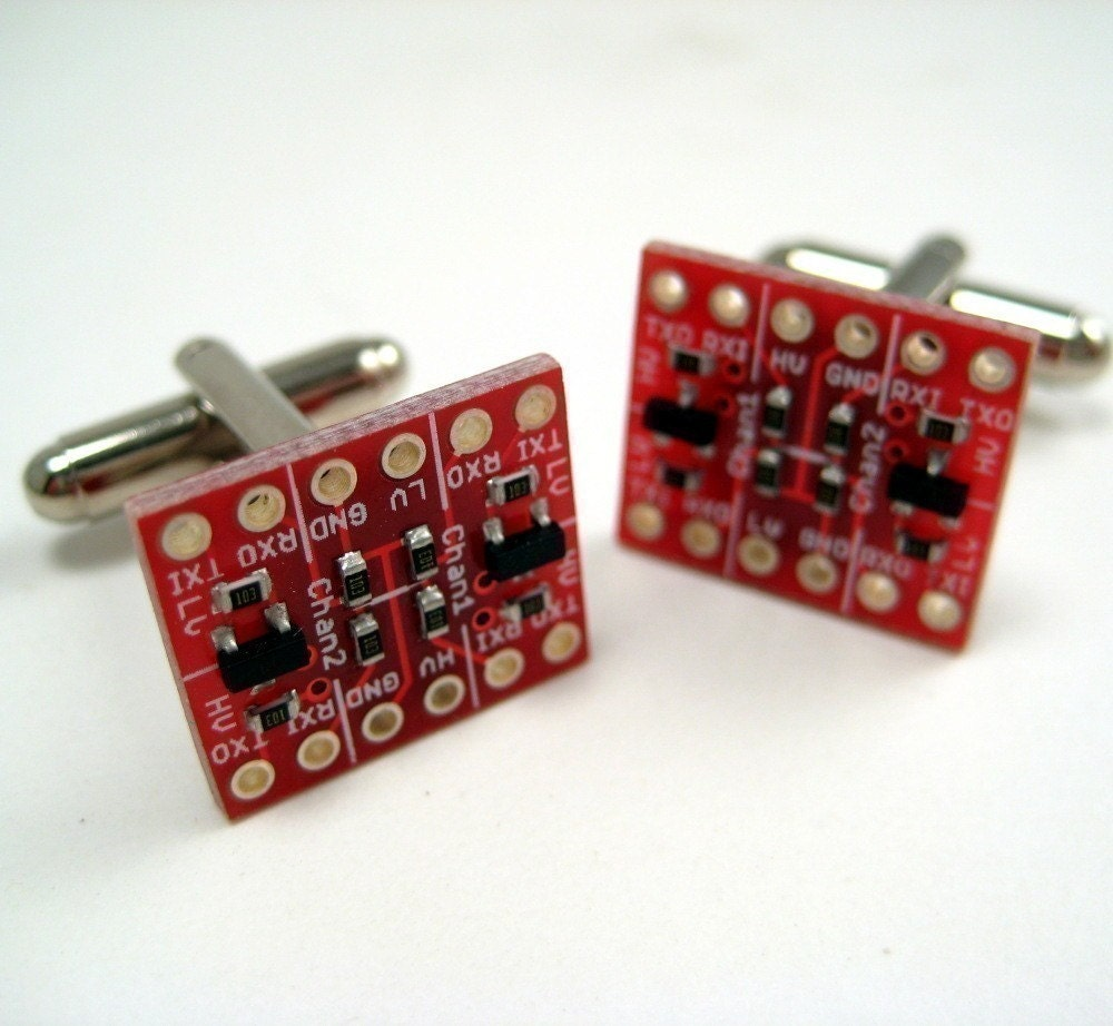 LEVEL red circuit board cufflinks
